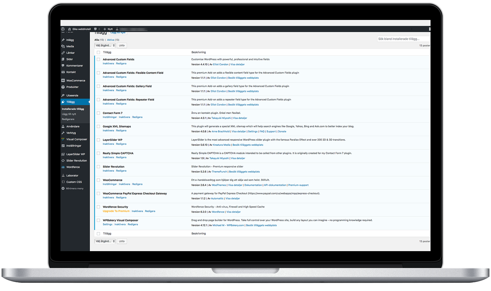 Wordpress adminsida
